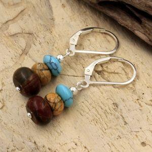 Jasper & Turquoise Dangle Earrings 925